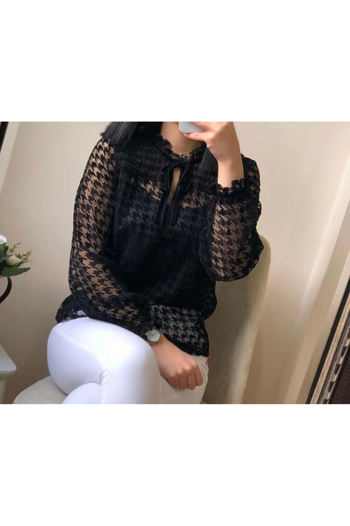 Yaka Bağlama Bluz - siyah