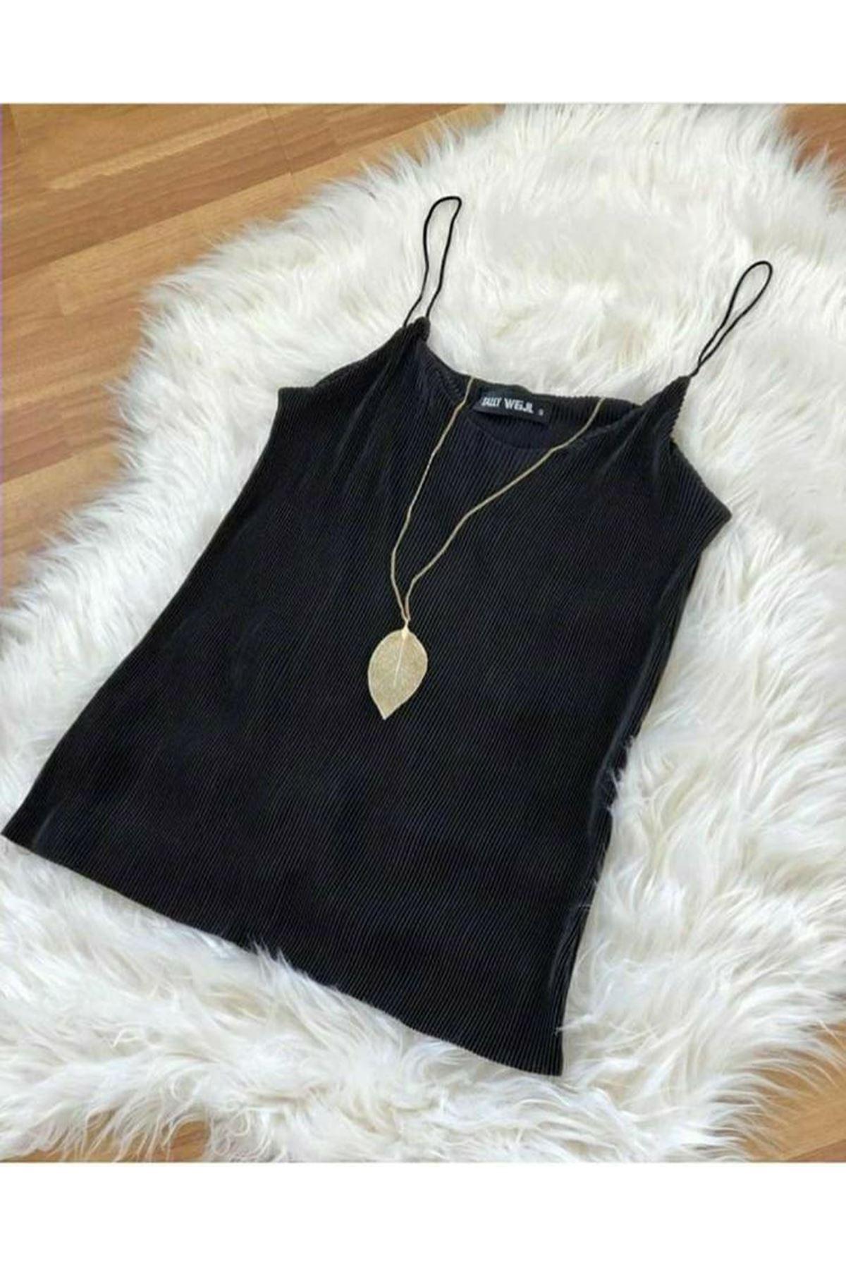 İnce Askı Bluz - siyah