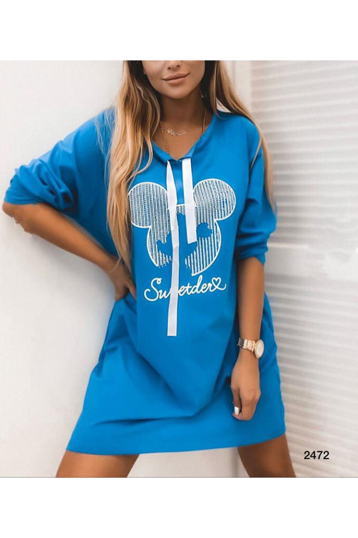 Mickey Baskılı Elbise - mavi