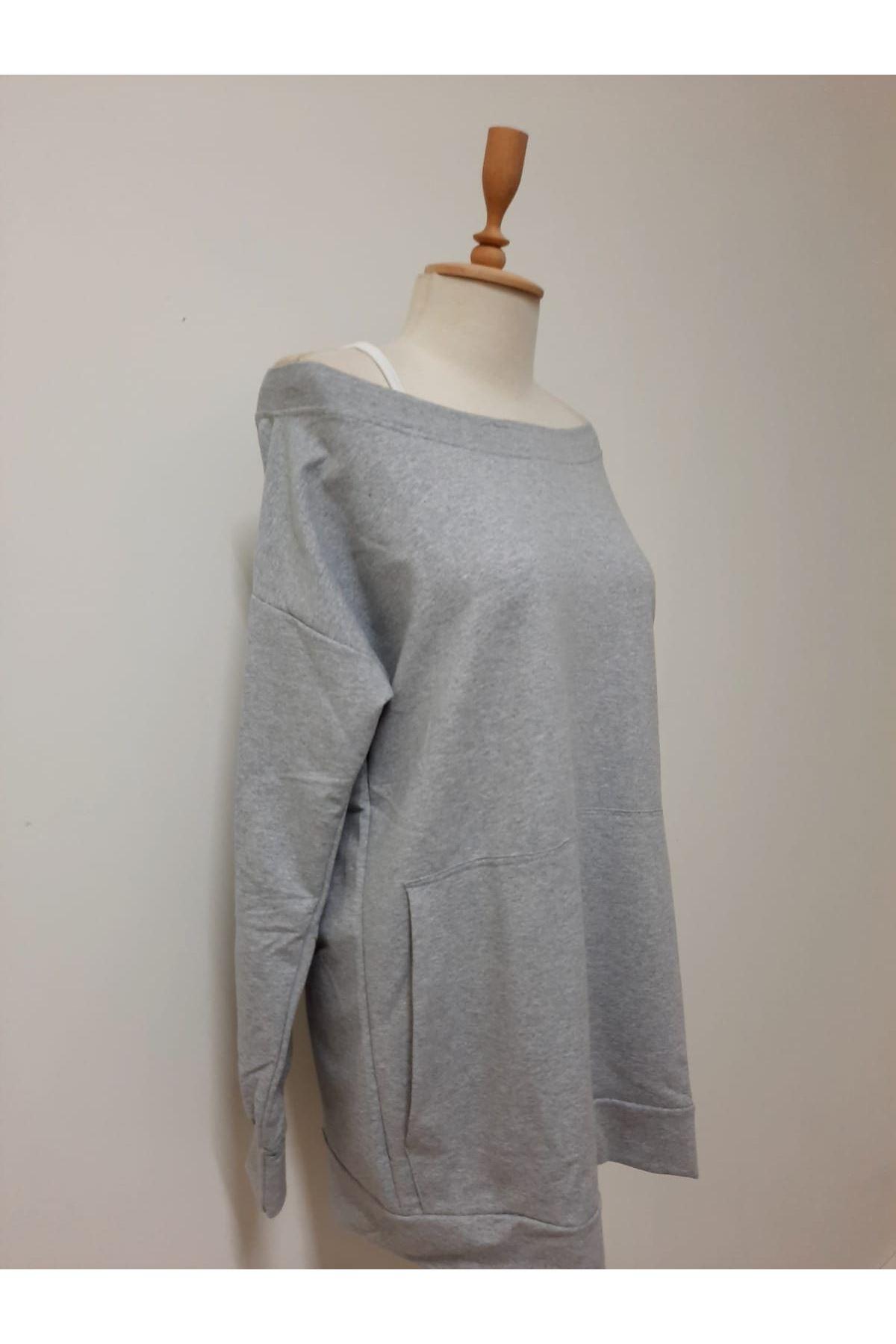 Askılı Kayık Yaka Elbise - gri