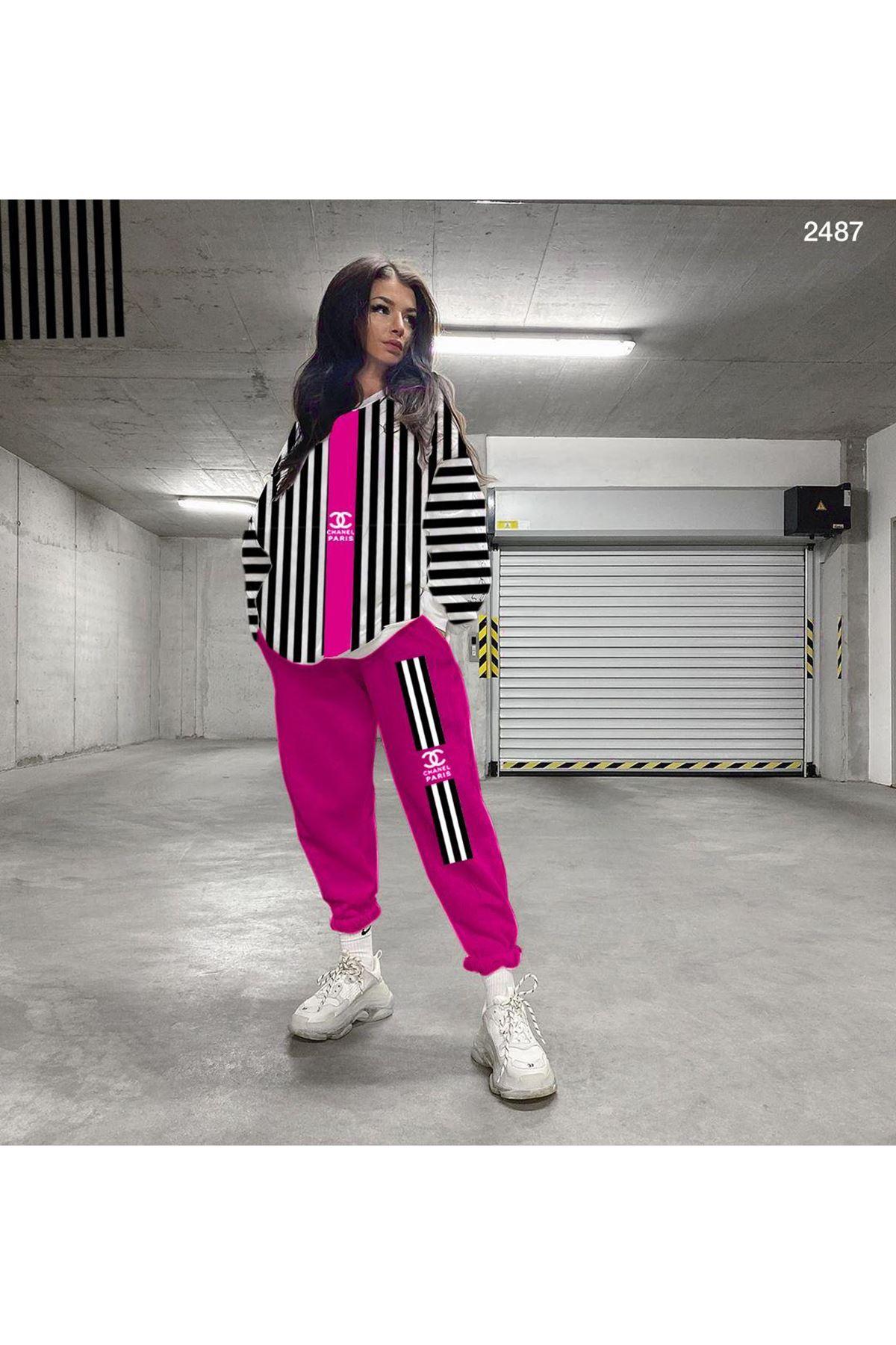 Chanel Çizgili İkili Takım - fuşya