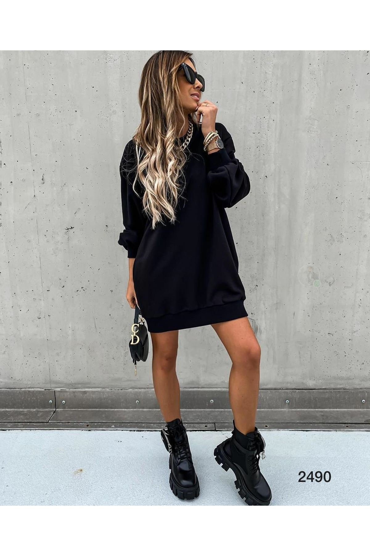 Omuz Fermuar Tunik Elbise - siyah