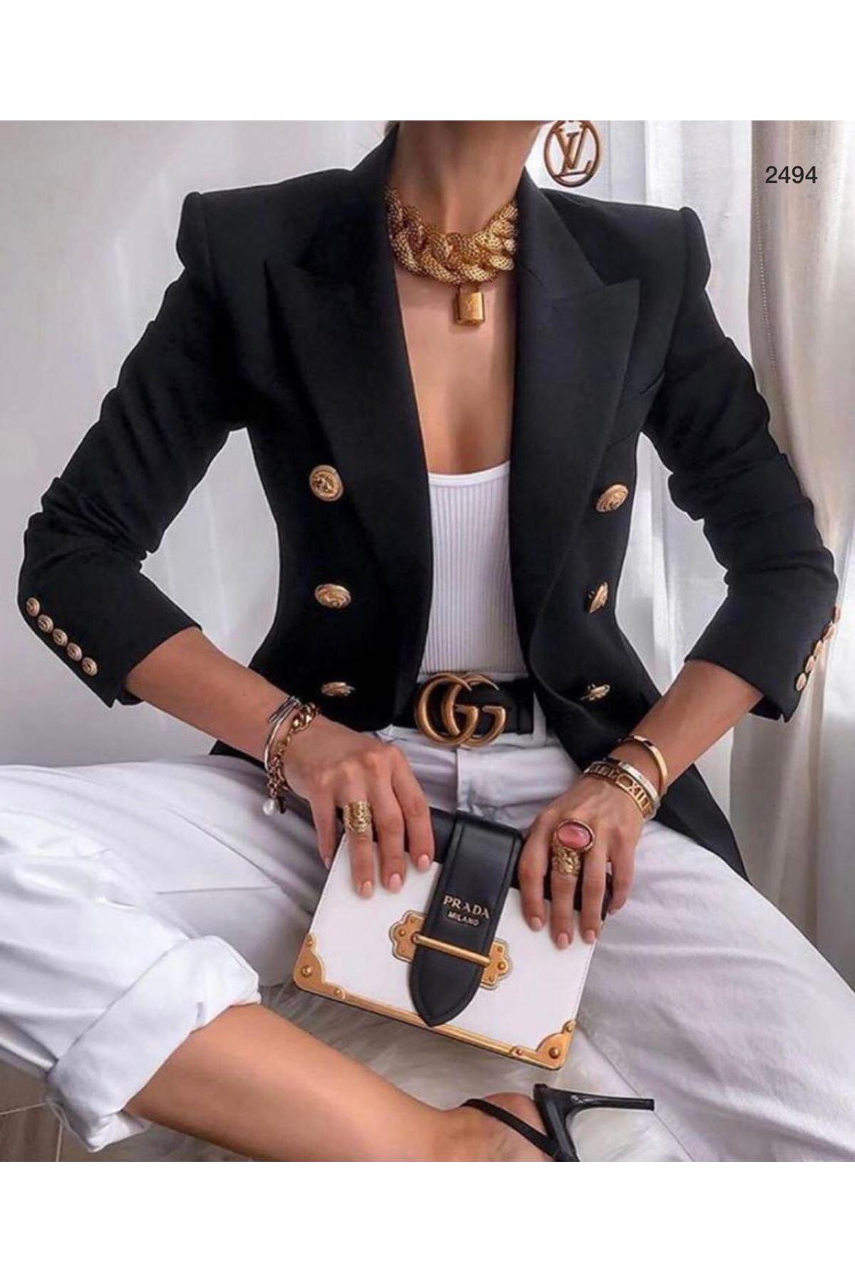 Düğmeli Blazer Ceket - siyah
