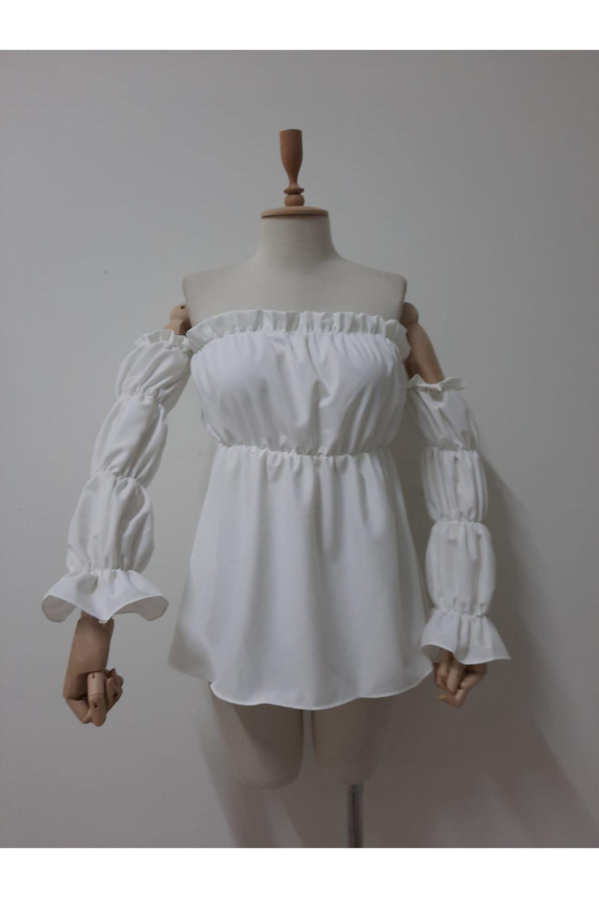 Madonna Lastikli Bluz - beyaz