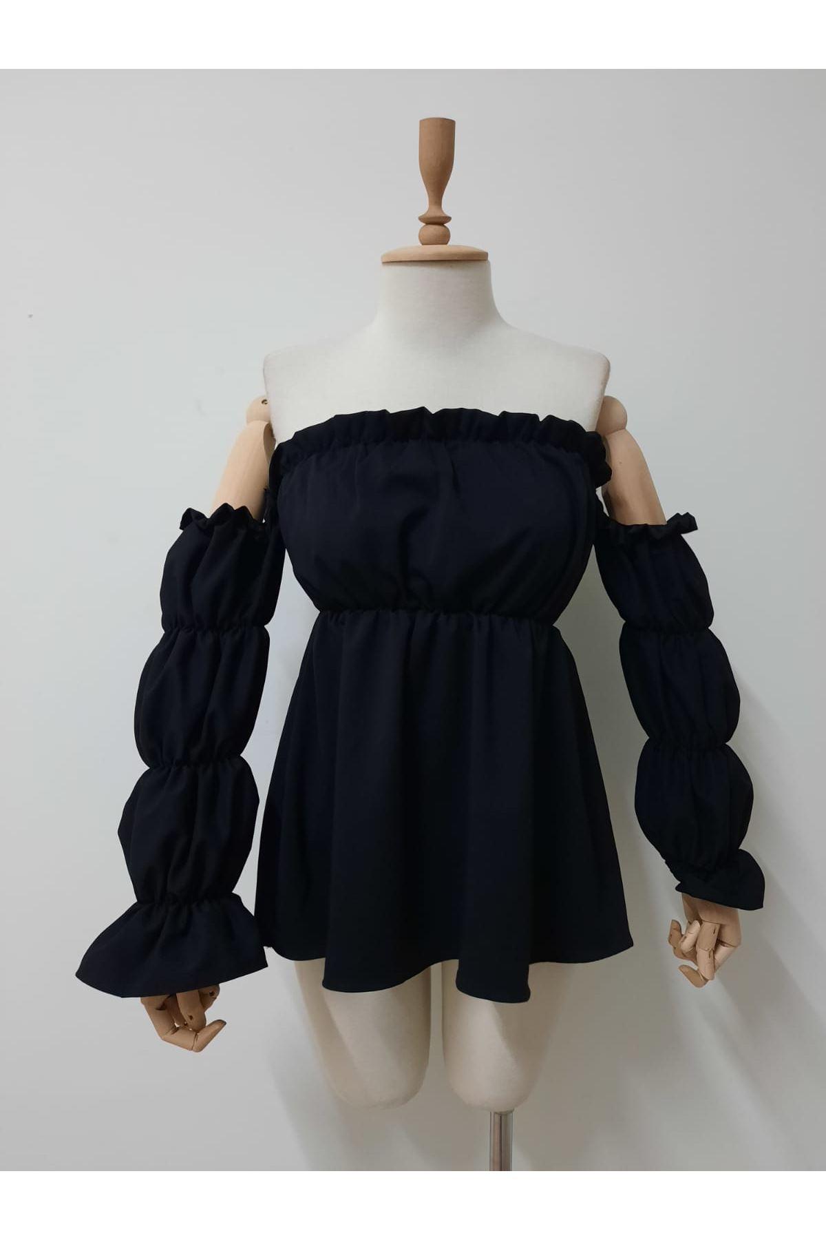 Madonna Lastikli Bluz - siyah