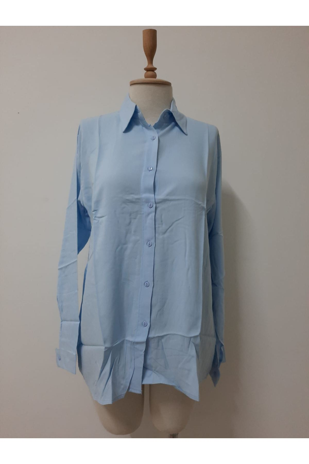 Uzun Kol Rahat Gömlek - mavi