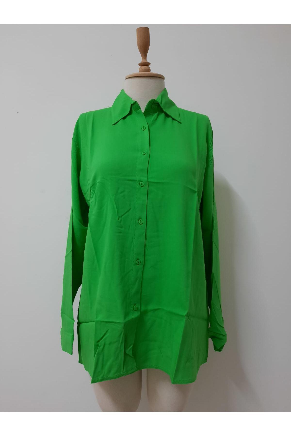 Uzun Kol Rahat Gömlek - yeşil