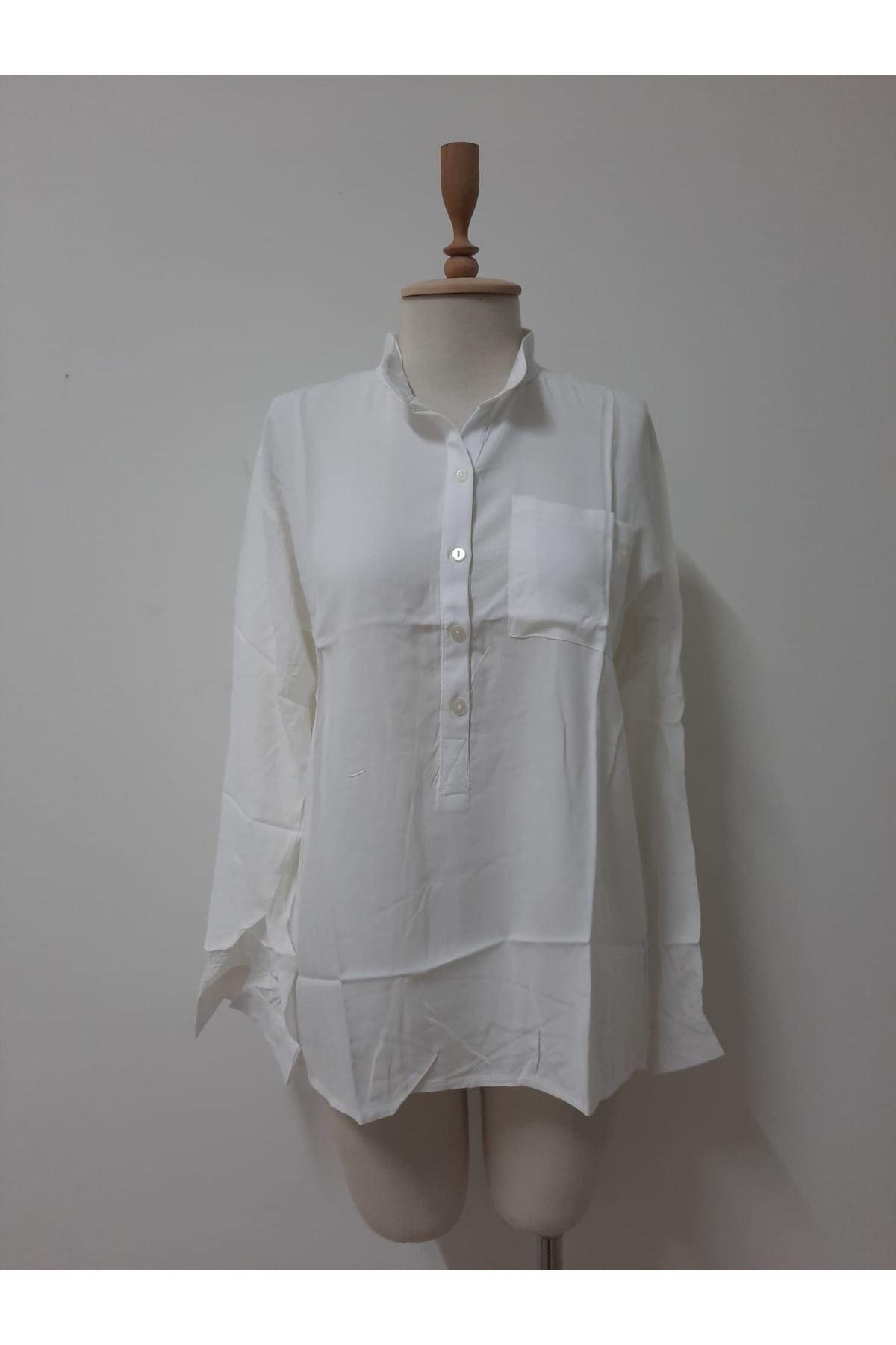 Salaş Açık Yaka Bluz - beyaz