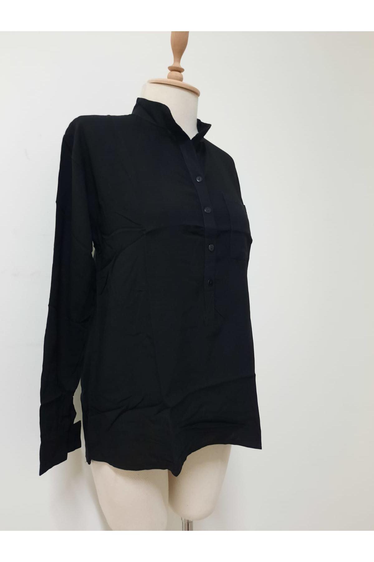 Salaş Açık Yaka Bluz - siyah