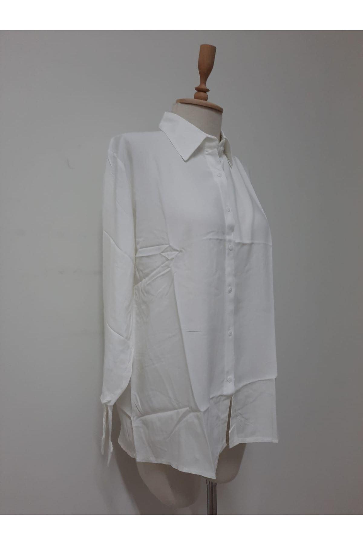 Uzun Kol Rahat Gömlek -beyaz