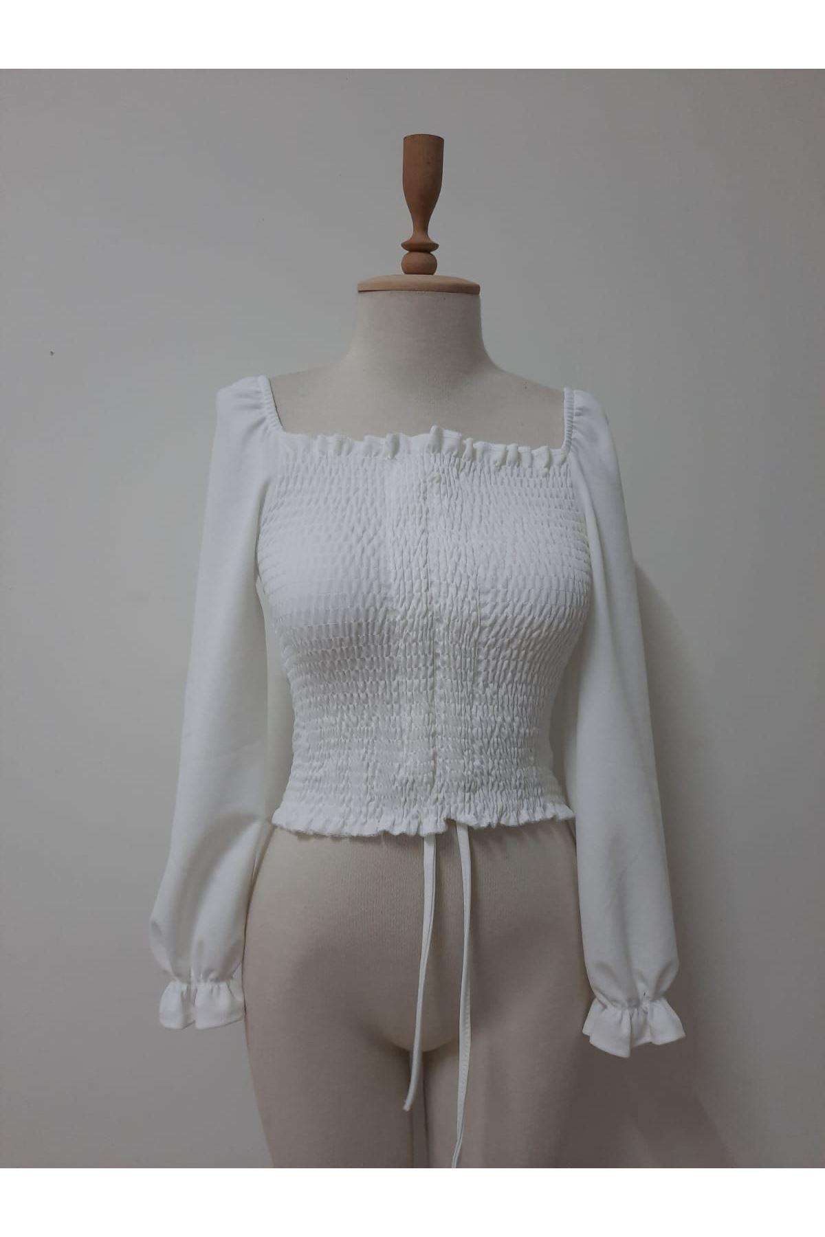 Geniş Yaka Crop Bluz - beyaz
