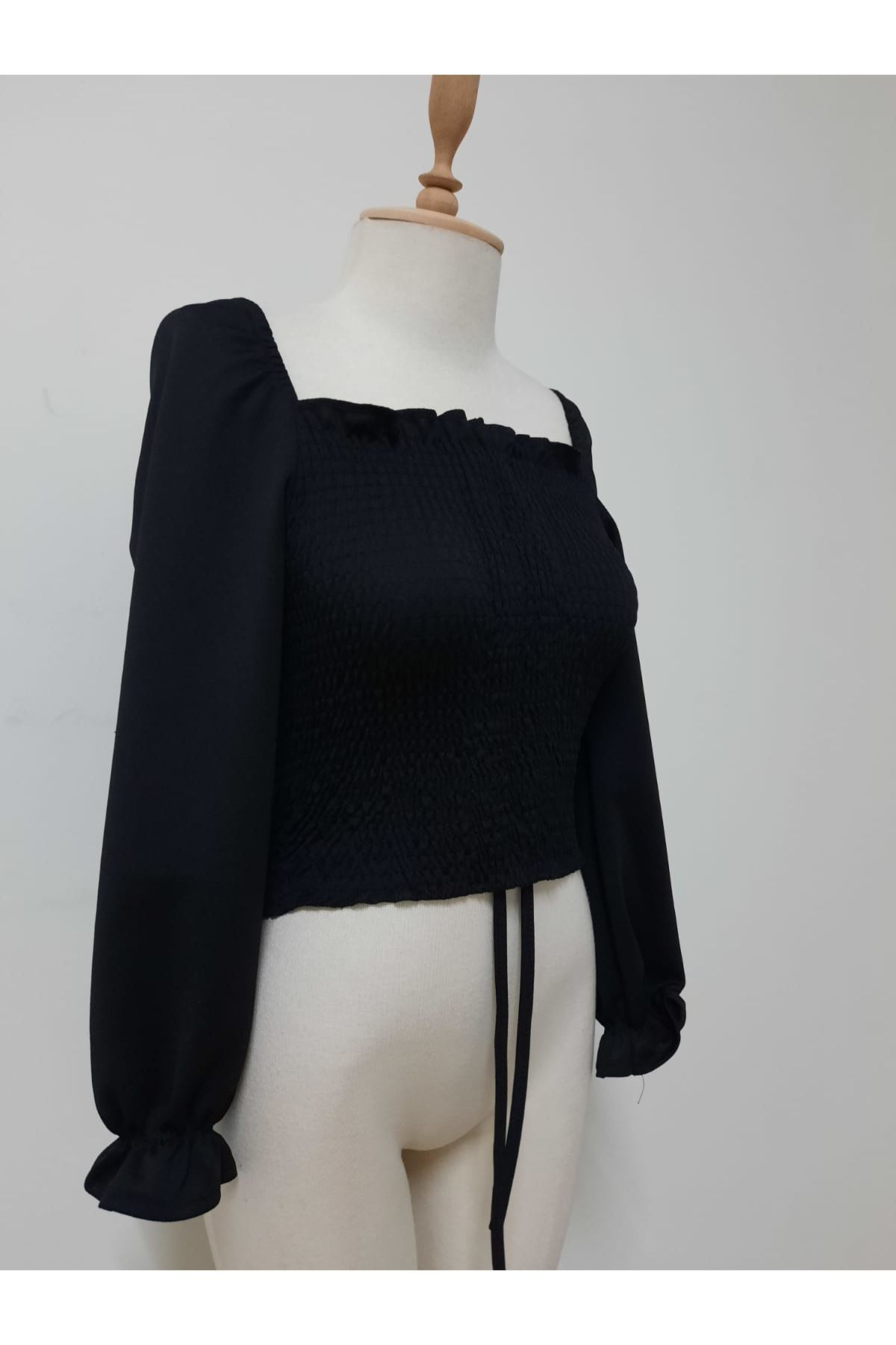 Geniş Yaka Crop Bluz - siyah