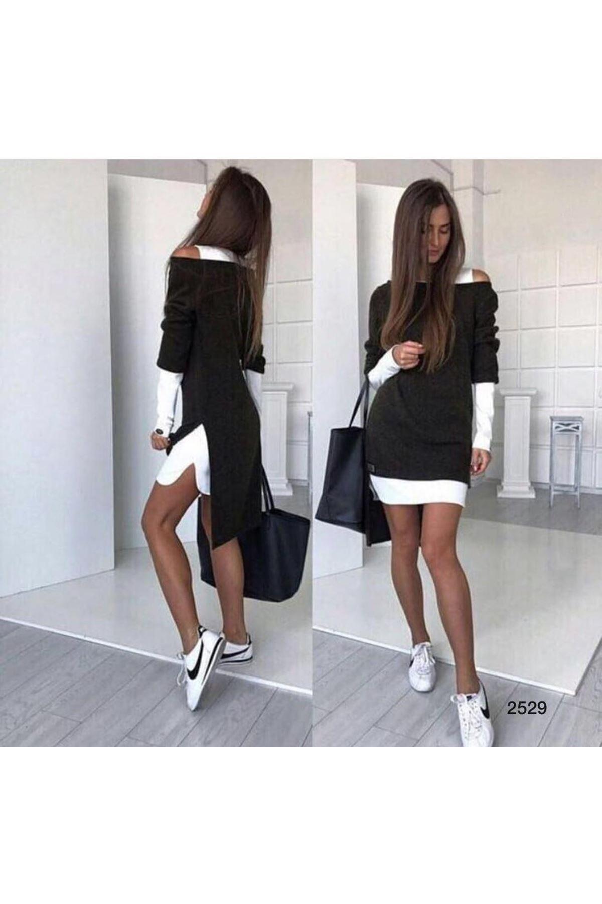 Akrelik İkili Kombin Elbise - siyah