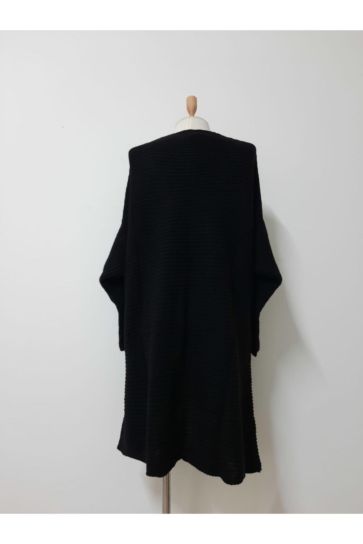 Yaka Detay Uzun Hırka - siyah