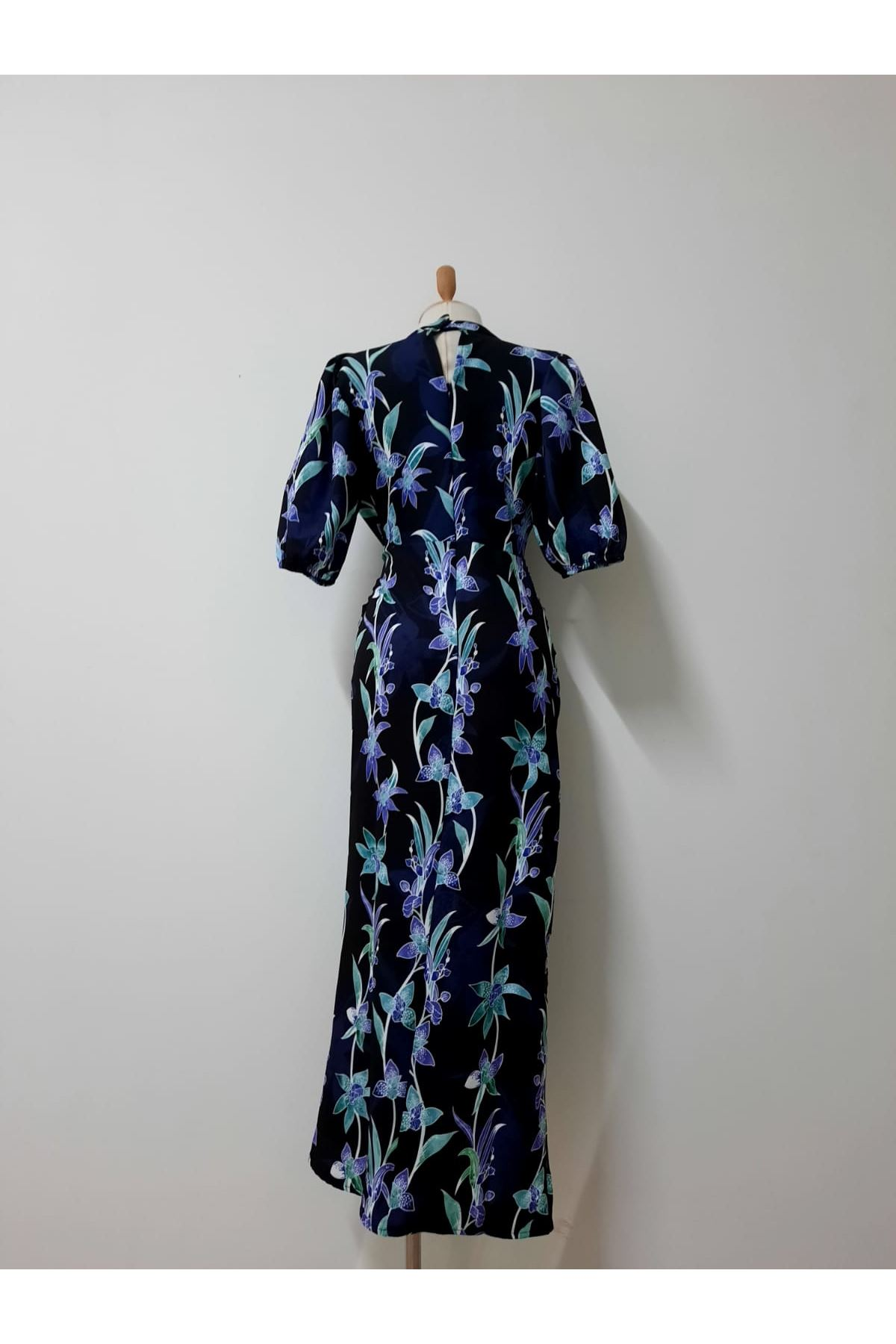 Lavanta Baskı Elbise - SİYAH