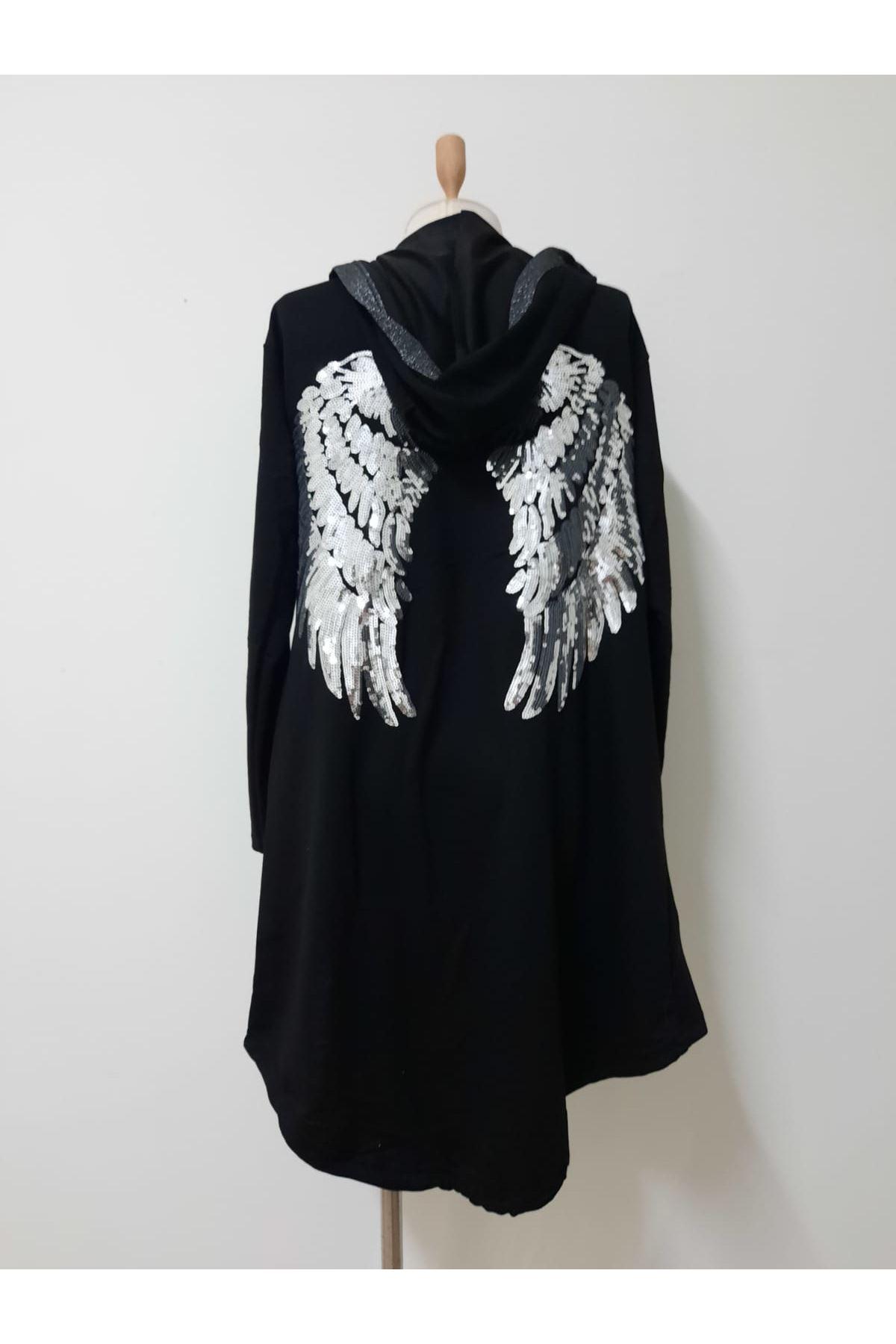 Pul Payet Melek Kanat Ceket - siyah