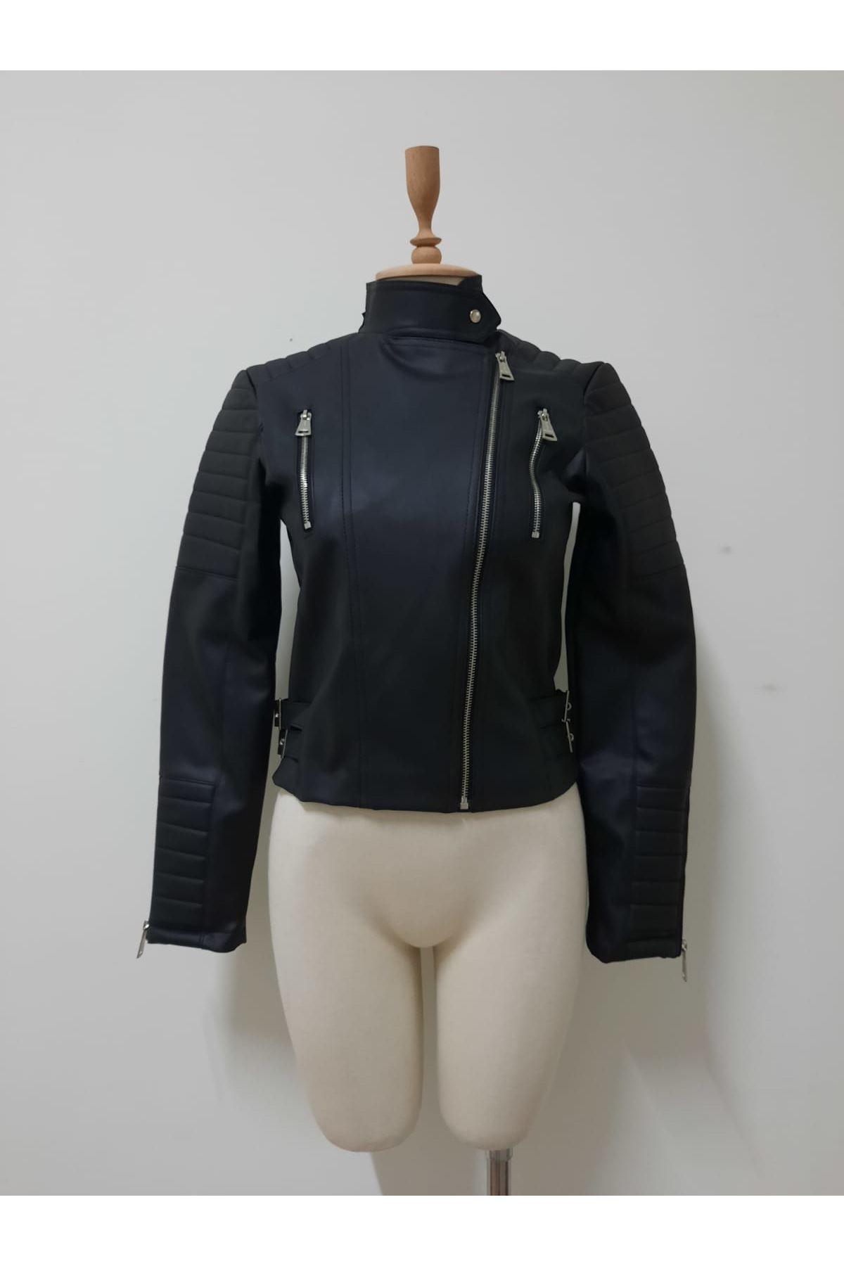Fermuarlı Deri Ceket - siyah
