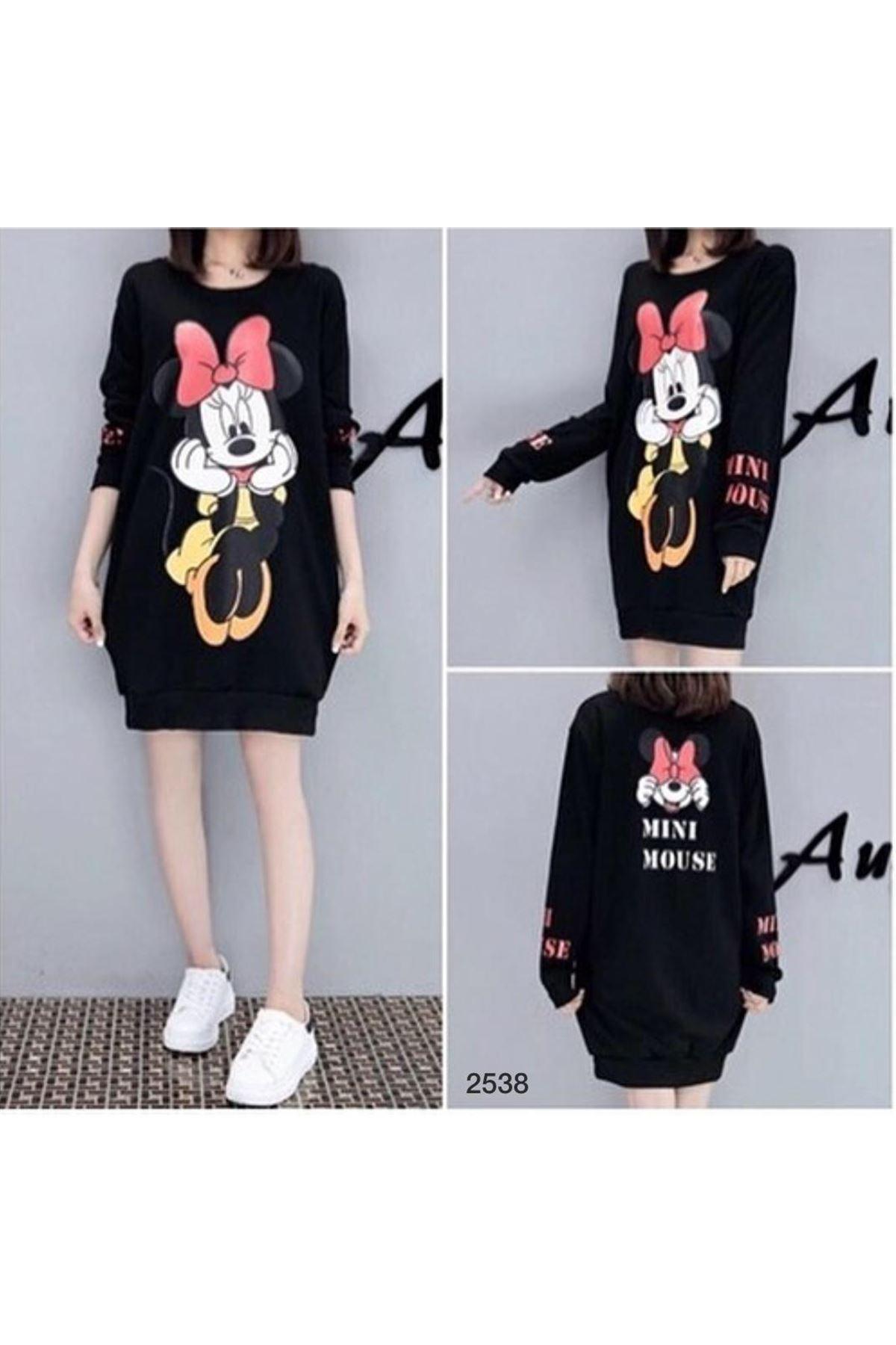 Minnie Mouse Tunik Elbise - siyah