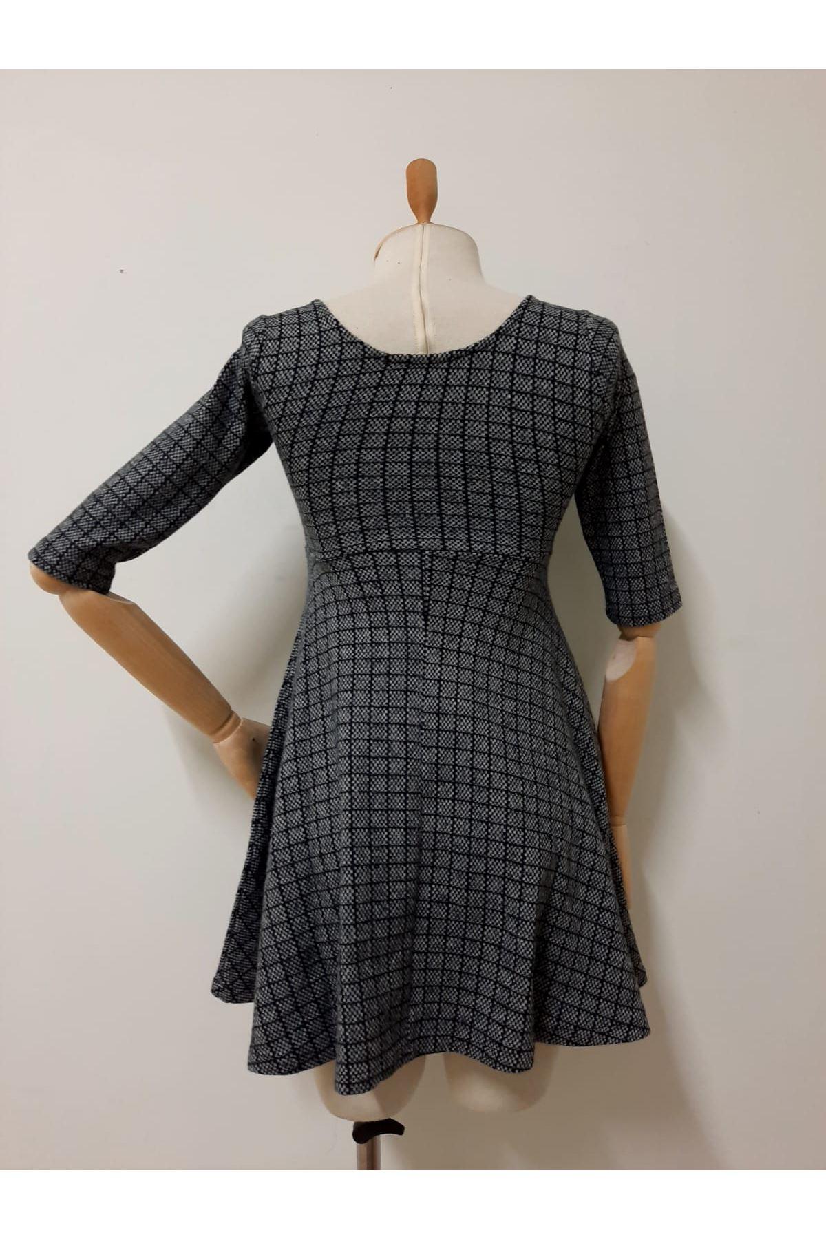 Ekose Desen Mini Elbise - GRİ