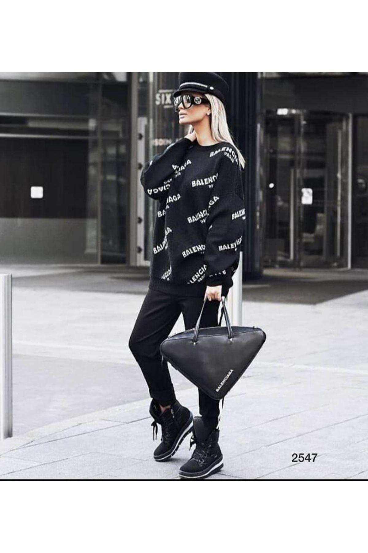 Balenciaga Baskılı Sweat - siyah