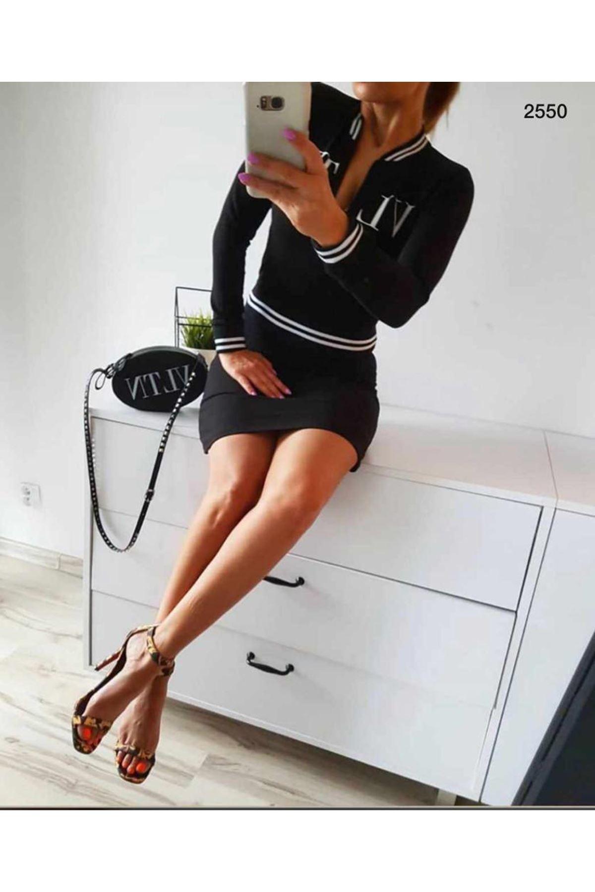 VLTN Şeritli Mini Elbise - SİYAH