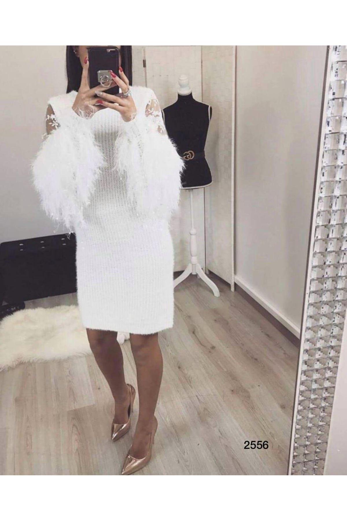 Kolları Tüy Tasarım Elbise - BEYAZ