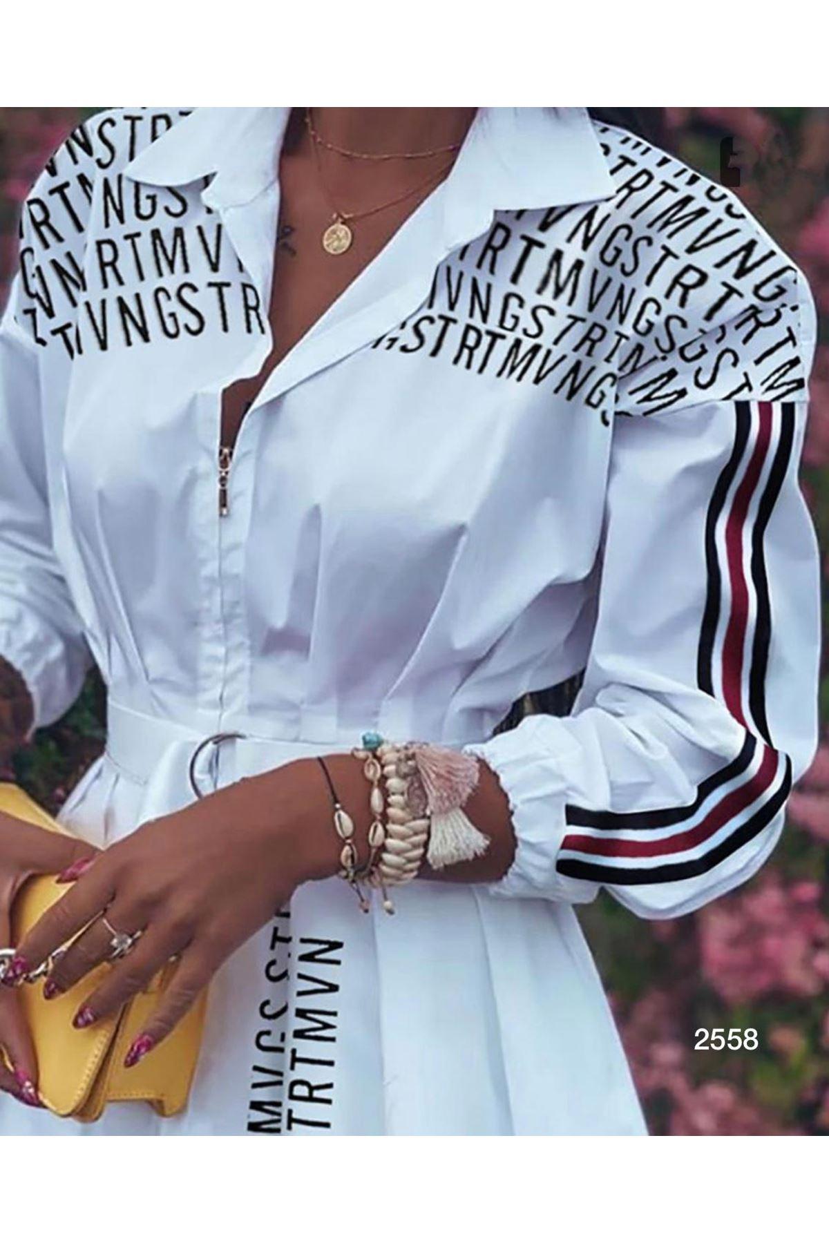 Kol Şeritli Tunik Elbise - BEYAZ