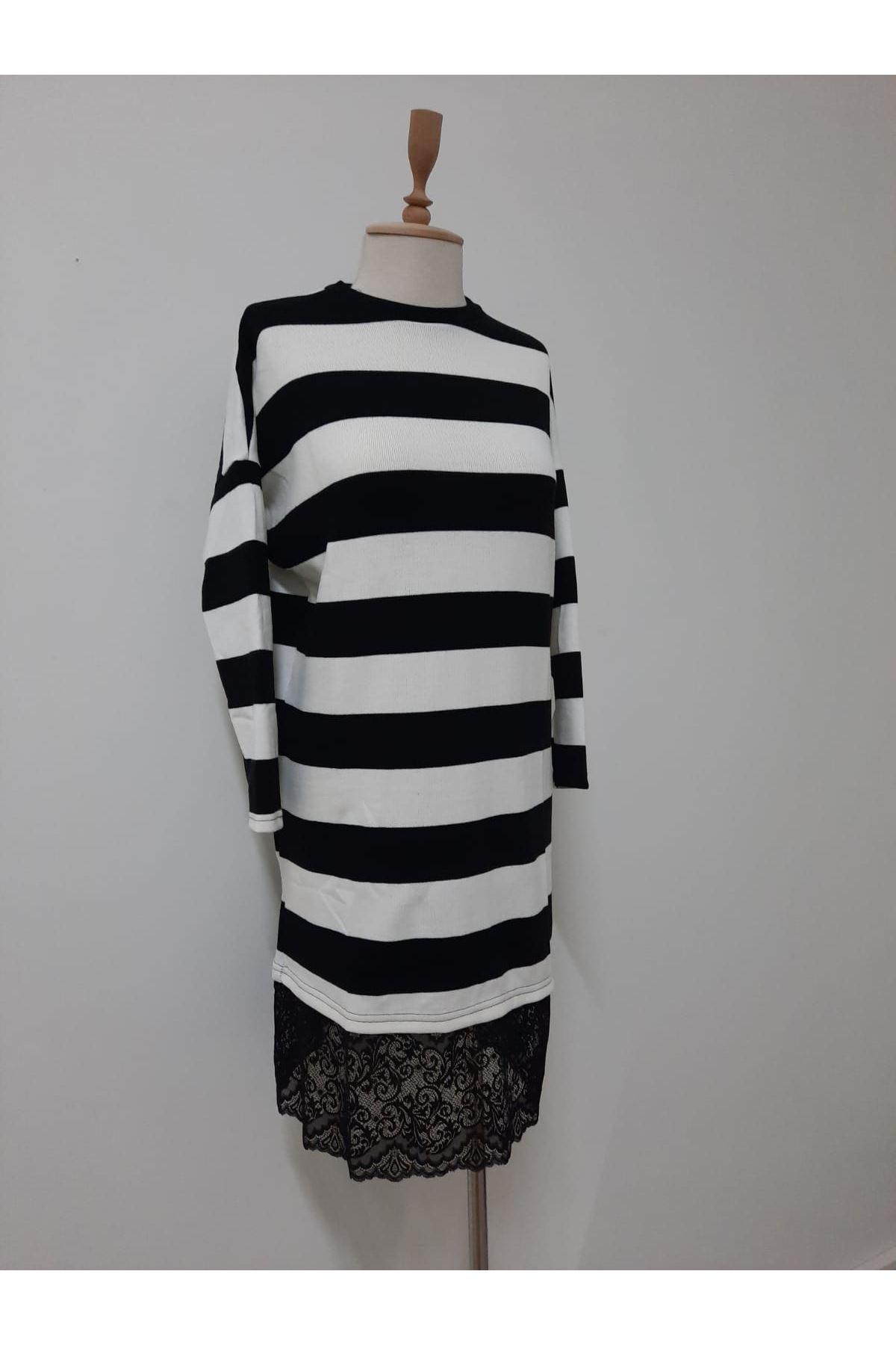 Eteği Dantel Çizgili Akrelik elbise  - multi