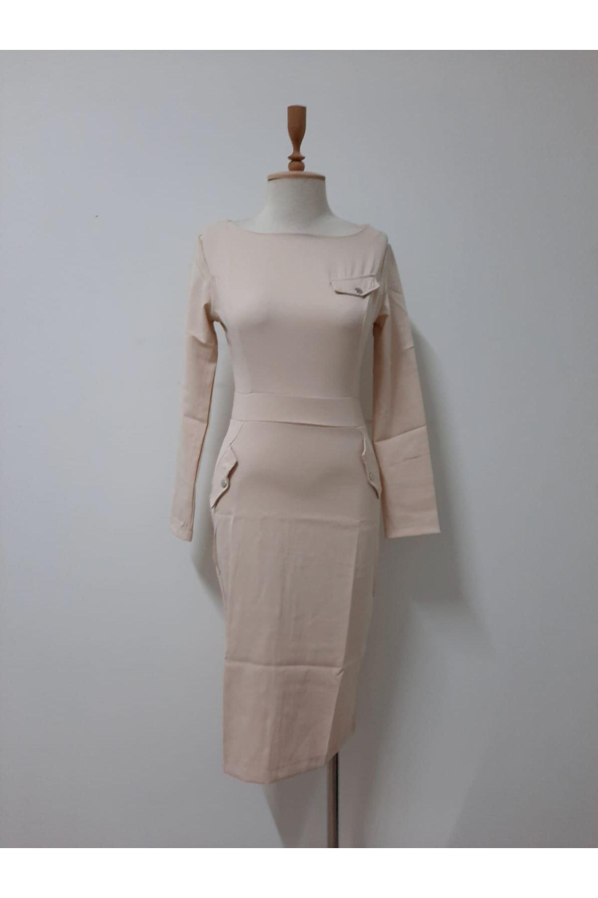 Cep Detaylı Kalem Elbise - BEJ