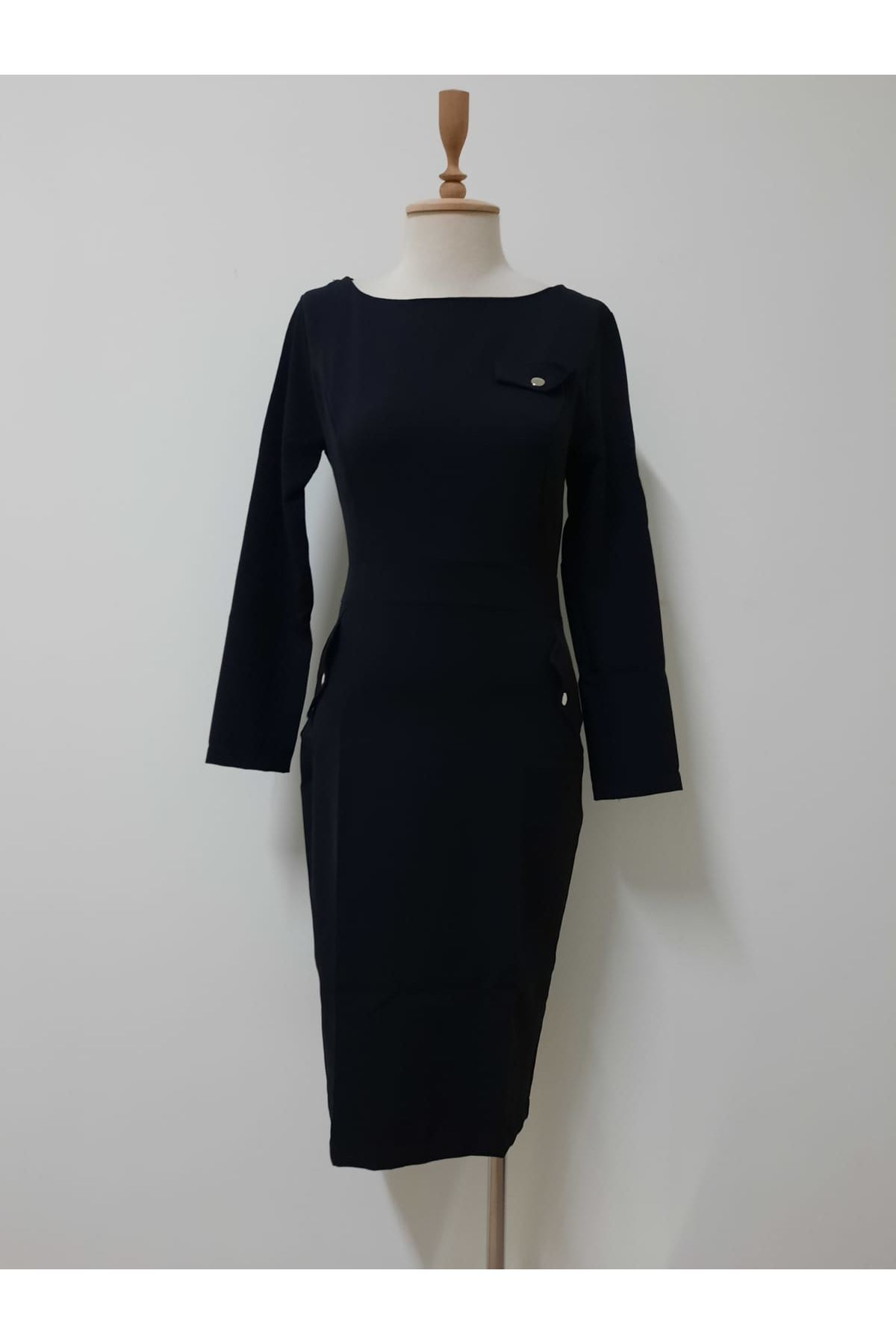 Cep Detaylı Kalem Elbise - SİYAH