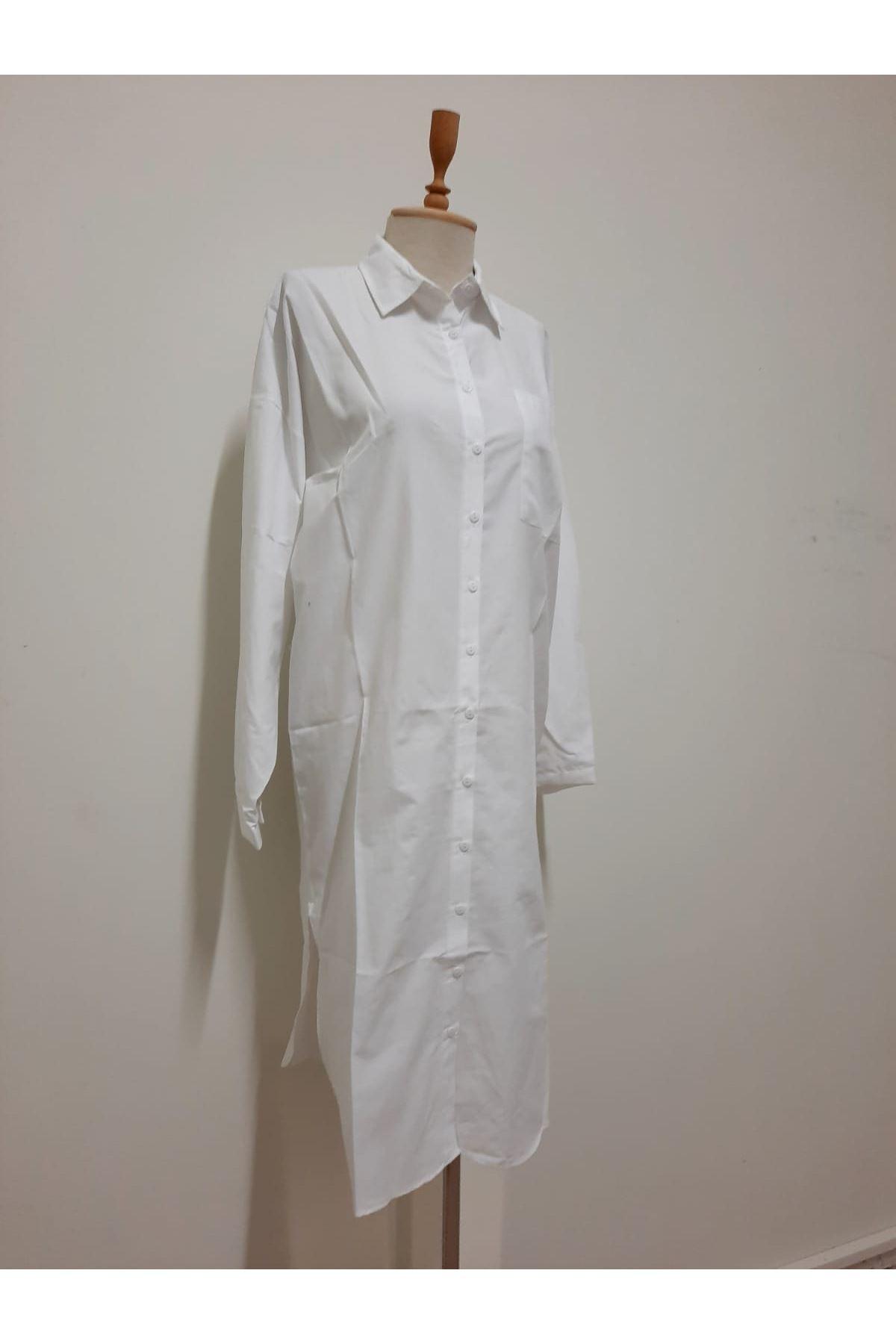 Asimetrik Uzun Gömlek - BEYAZ