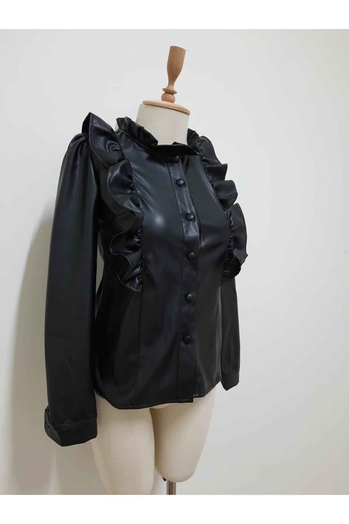 Zara Model Deri Gömlek - SİYAH