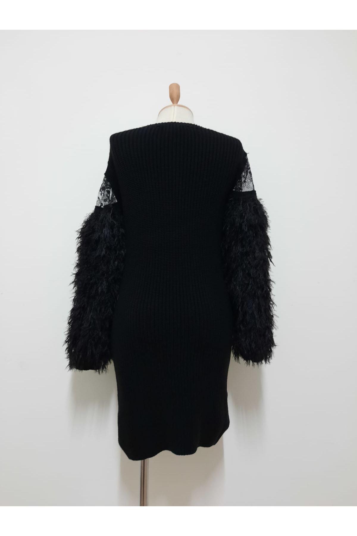 Kolları Tüy Tasarım Elbise - SİYAH