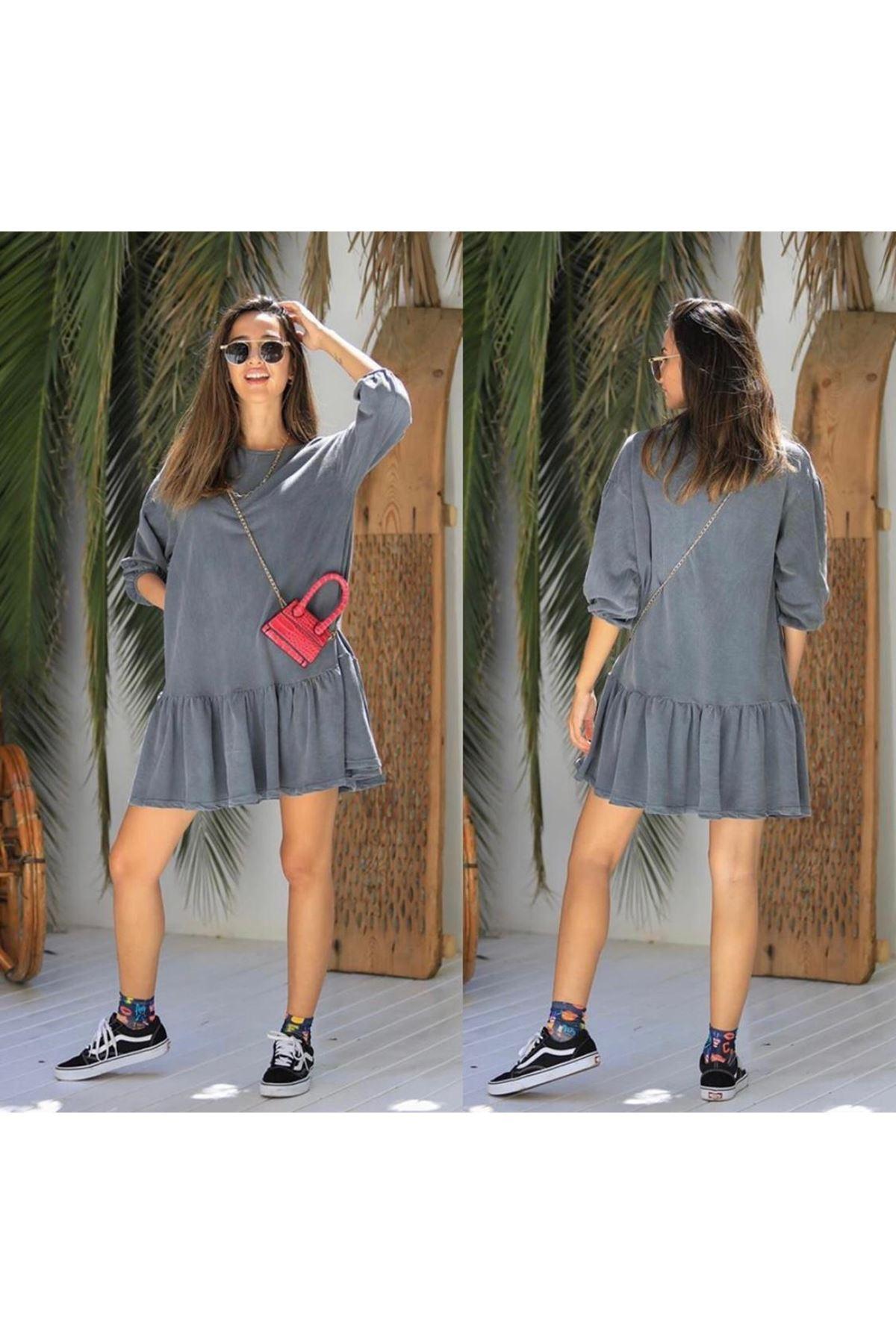 Yıkamalı Tunik Elbise - ANTRASİT