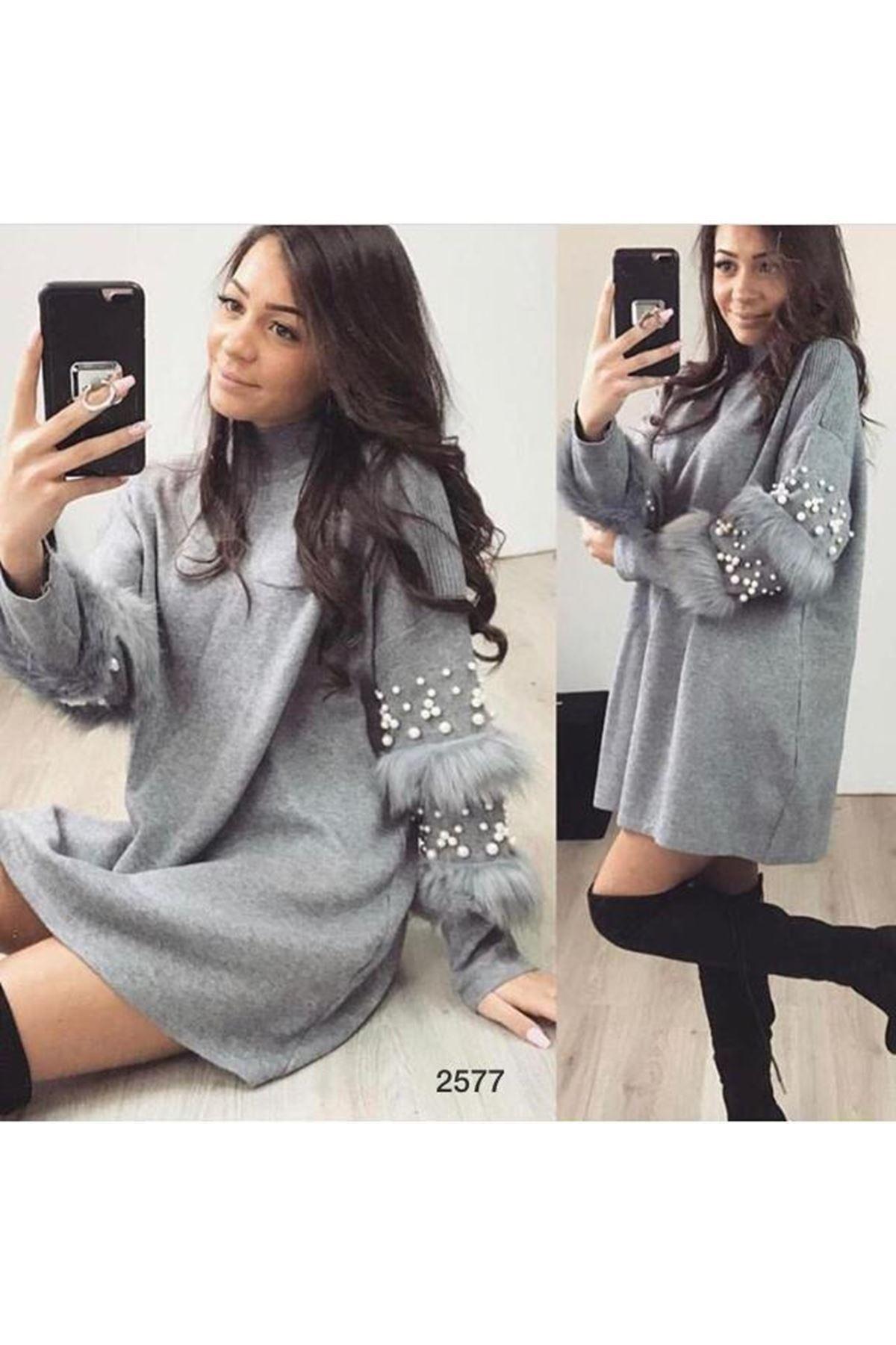 İnci Ve Tüy Detaylı Elbise - GRİ