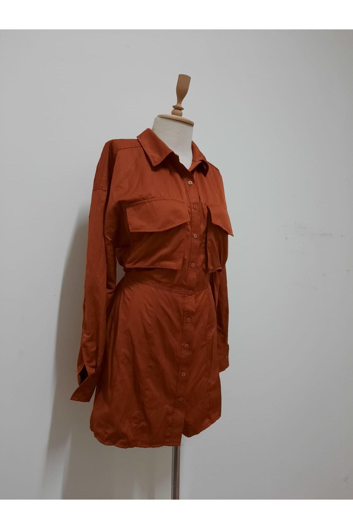 Cep Kapaklı Mini Elbise - TABA