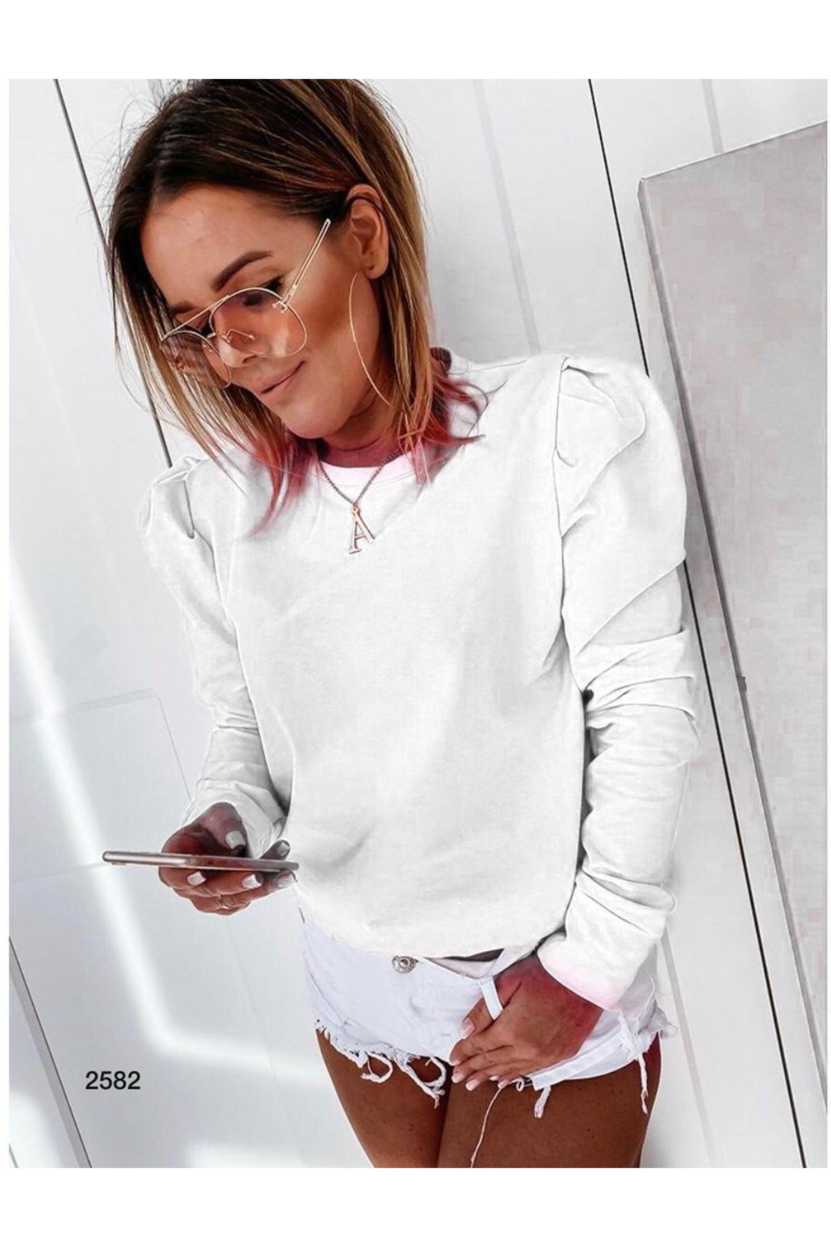 Prenses Omuz Detay Bluz - BEYAZ