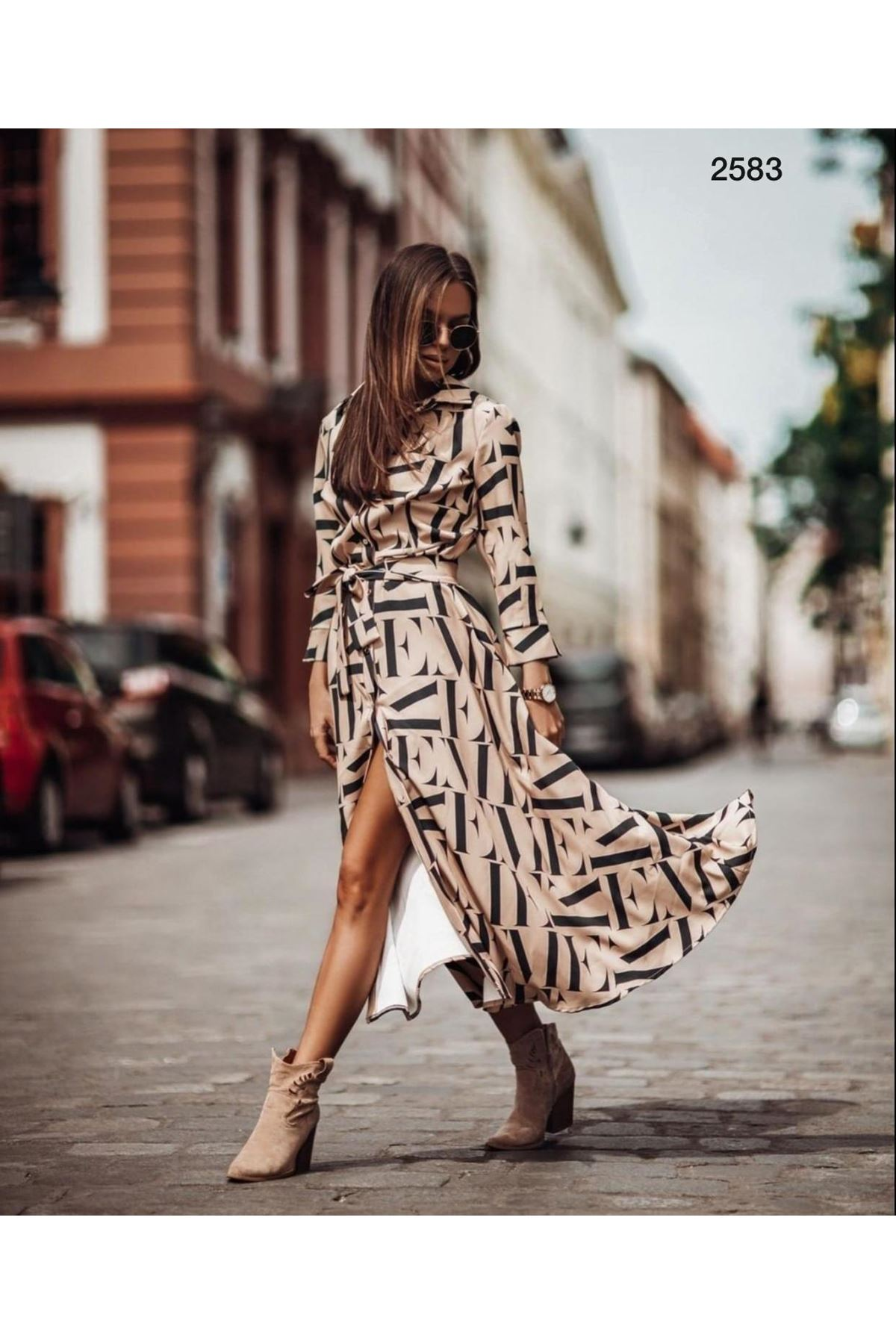 Harf Desen Gömlek Elbise - BEJ