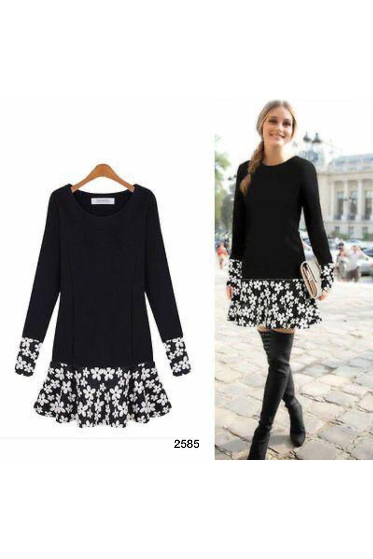 Etek Ucu Çiçek Desen Kloş Elbise - siyah