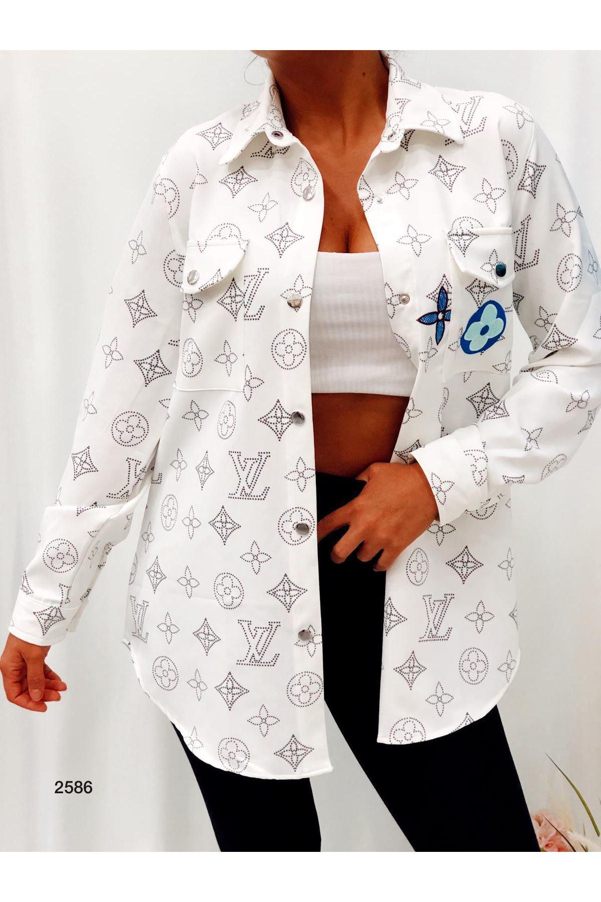 Louıs Nakışlı Boydriend Gömlek - beyaz
