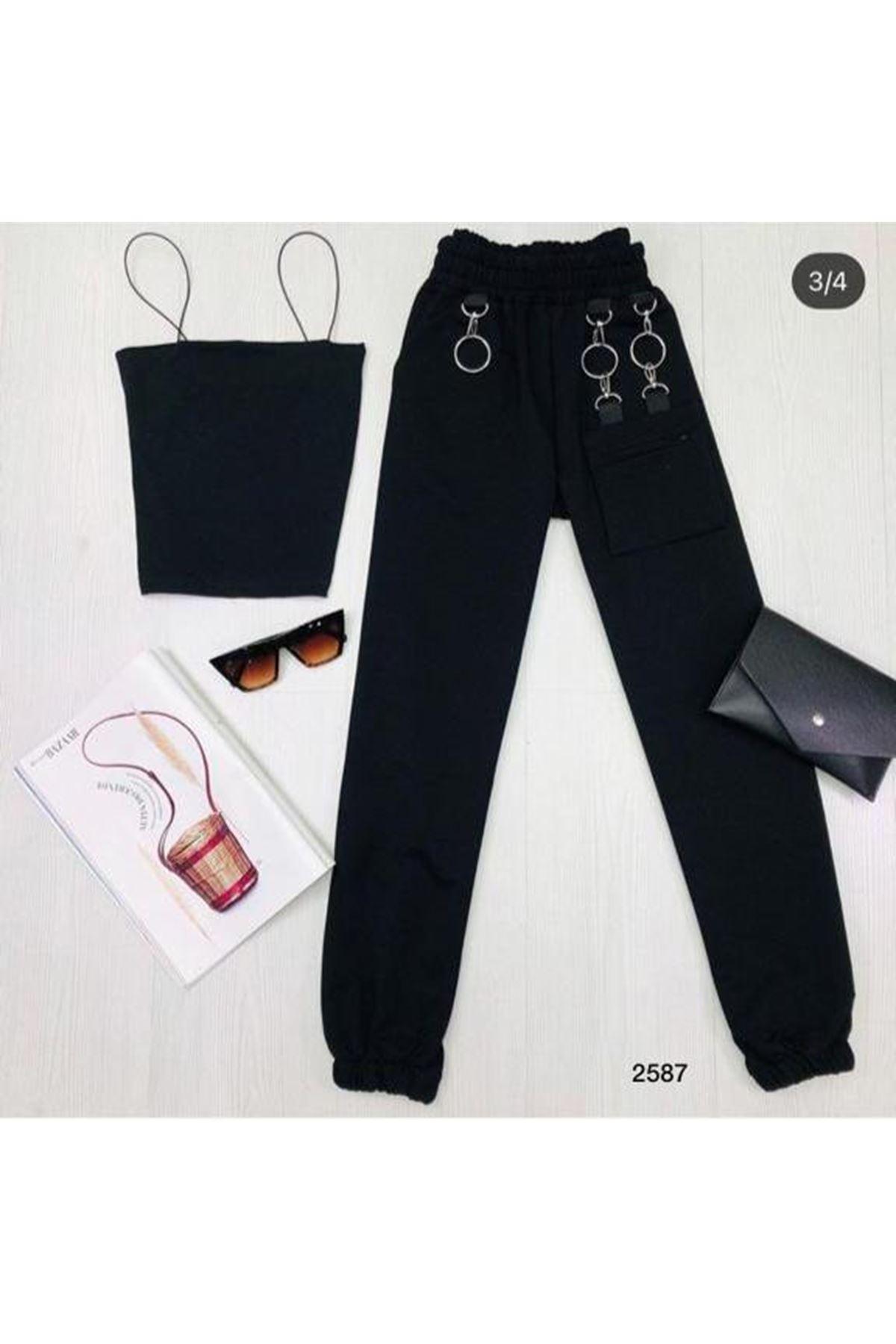Çanta Aksesuarlı Eşofman Altı - siyah