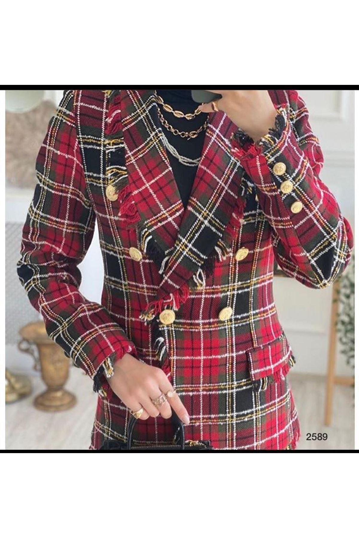 Paris Püsküllü Ceket - kırmızı