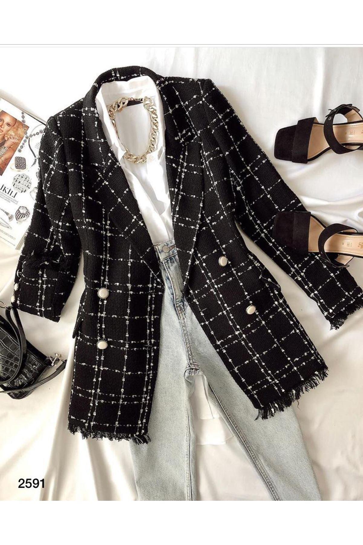 Düğme Detaylı Ceket - siyah