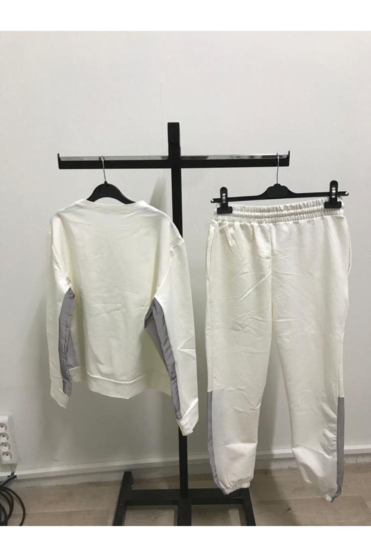 Reflektör Detaylı İkili Takım - beyaz