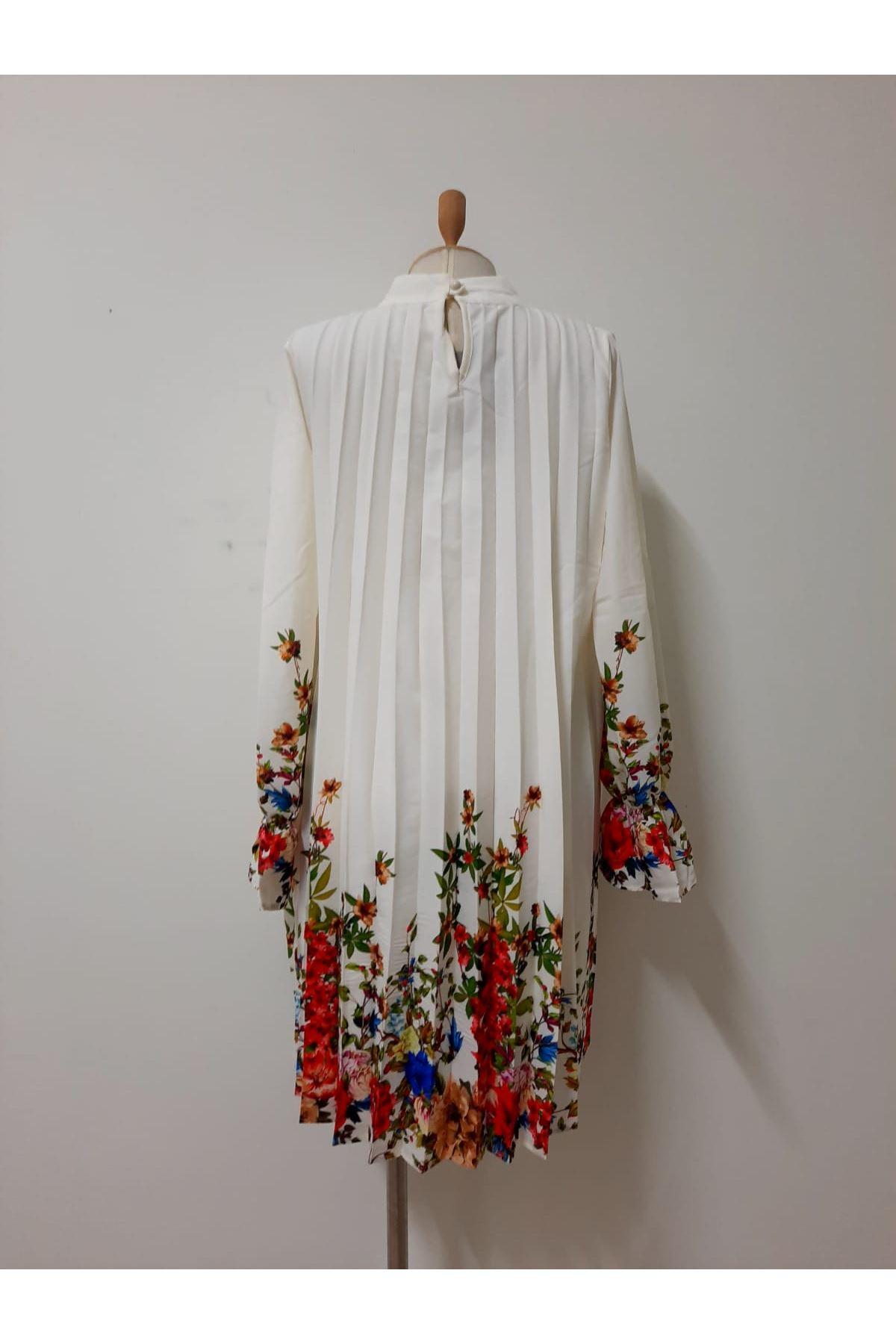 Diji Baskı Piliseli Elbise - ekru