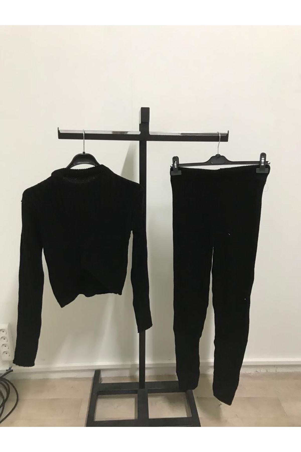 2 Renk Triko İkili Takım - siyah