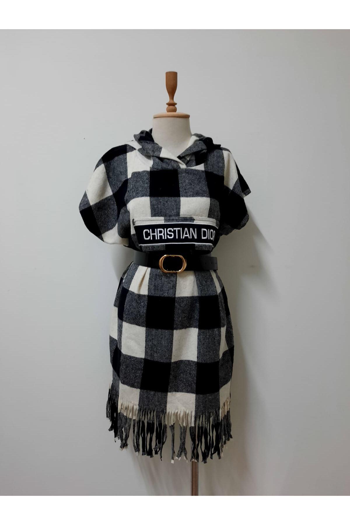 Dior Kemerli Ekose Panço - siyah