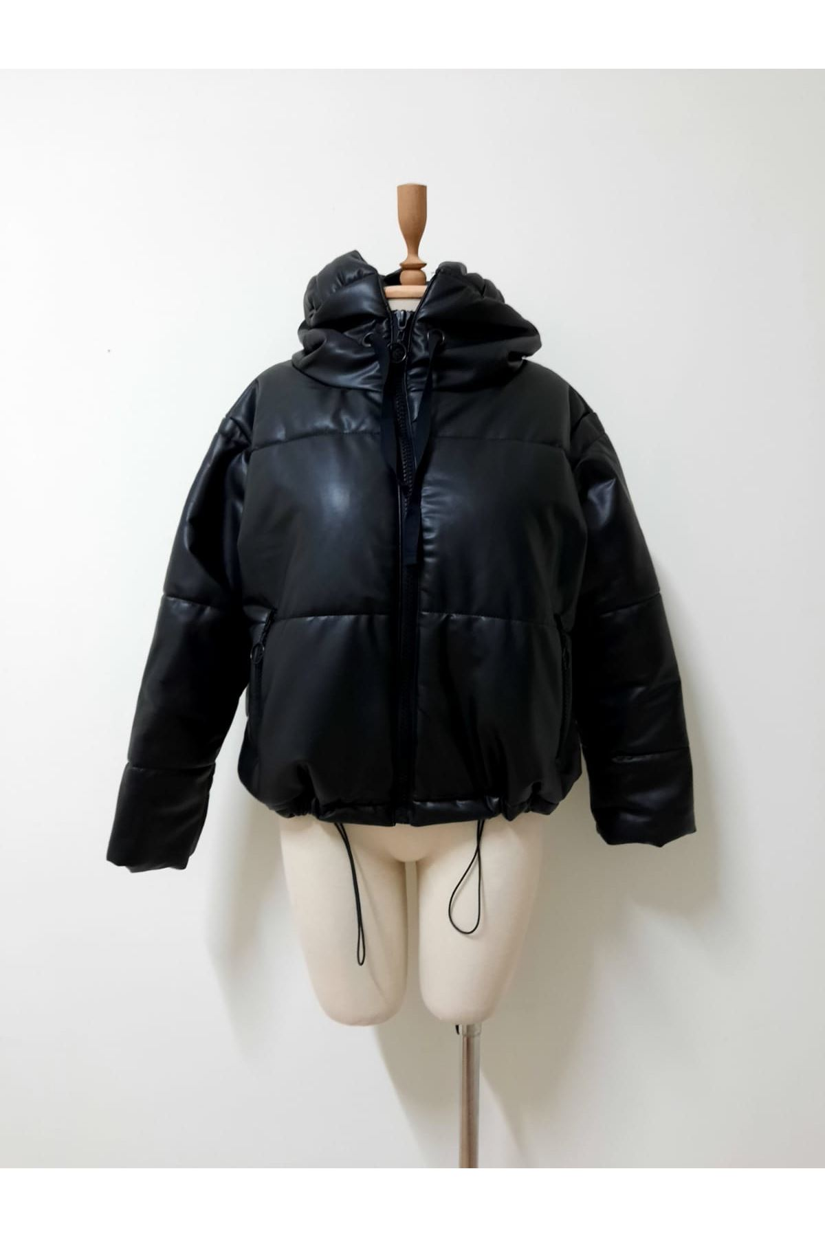 Zara kapşonlu Deri Mont - siyah