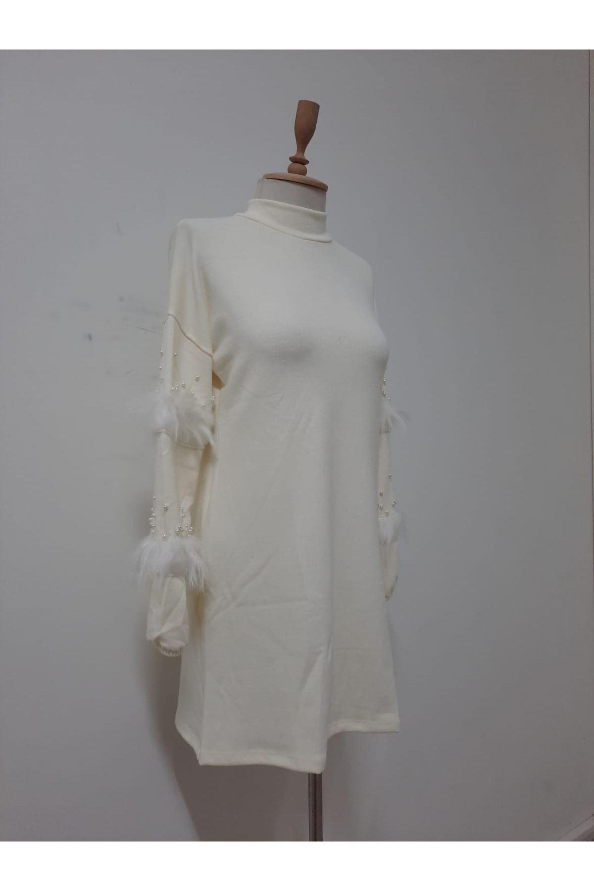 İnci Ve Tüy Detaylı Elbise - EKRU