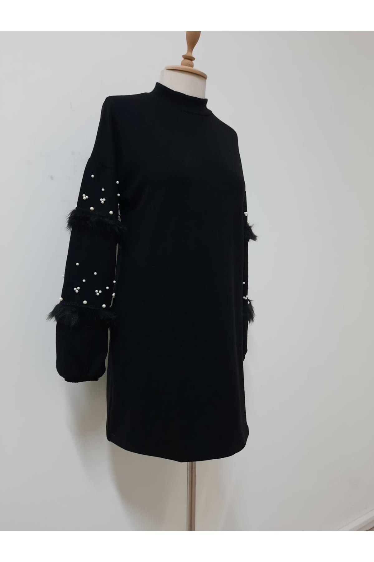 İnci Ve Tüy Detaylı Elbise - SİYAH